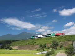 A Train and Yatsugatake Mountains (elminium) Tags: sky mountain japan clouds train railway m yamanashi yatsugatake dmcg1