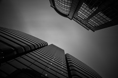 Face to Face (TS446Photo) Tags: camera city longexposure windows sky blackandwhite bw white black reflection building london glass monochrome up lines architecture modern club clouds mono town big nikon little steel le nd dslr filters stopper d600 1835mm nikon1835mm nikond600 ts446 16stops