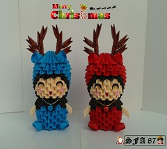 Kids with reindeer suit (Samuel Sfa87) Tags: christmas natal kids paper reindeer kid origami suits child with crafts craft suit sfa bimbo block criança papel crianças childs natale carta reindeers renne papercraft bimba bimbi christma renna blockfolding origami3d sfaorigami sfa87