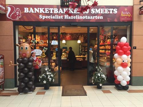 Ballonpilaar Rudolf en Kerstman Banketbakkerij Smeets Spijkenisse
