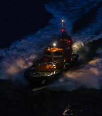 Eight knots, pilot boarding speed. (Per-Karlsson) Tags: sea water night boat darkness vessel belfast maritime pilot pilotboat canonef24105mmf40lisusm canoneos6d
