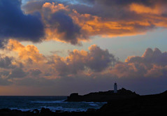 Godrevy Sunset! ('cosmicgirl1960' NEW CANON CAMERA) Tags: blue sea sky water clouds coast rocks cornwall cliffs godrevy yabbadabbadadooboulders