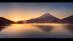 Mist on the lake (Jiratto) Tags: fuji fujisan fujiyama japan lake landmark landscape motosu mountain nature sky sunrise travel twilight volcano yamanashi