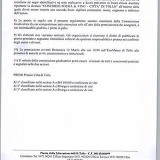 #ConcorsodiPoesia&Vino 2017 #Tollo Ecco il bando di partecipazione al Concorso di Poesia & Vino 2017 Città di #Tollo.  1) L'Assessorato alla Cultura del Comune di Tollo promuove ed organizza il Concorso Regionale di Poesia Dialettale V PREMIO DI POESIA &