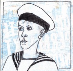 # 271 (27-09-2016) (h e r m a n) Tags: herman illustratie tekening bock oosterhout zwembad 10x10cm 3651tekenevent tegeltje drawing illustration karton carton cardboard matroos zeeman jongen boy seaman maniner stephan vanfleteren