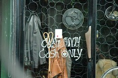 Cash Only (Thong Lo Bangkok) (jcbkk1956) Tags: nikon d70s nikkor 1870mmf3545 cash window sign ekkamai thonglo bangkok thailand fence coats clothing worldtrekker