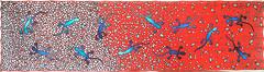 lizard party (jani.na) Tags: handpainted silk habotai 8mm scarf blue turquoise cyan red green french silkdyes black gutta lizard lizards leaf leaves white stones mosaic party scattered pattern original art design jani nanavati janina 2016