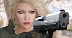Kiss of Death (prettynontan) Tags: catwa annie maitreya lara tonktastic secondlife sl erratic d1mtg usp 9mm kiss death war cats kunst bullet girl weapon gun
