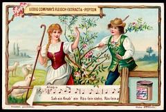 Liebig Tradecard S616 - Popular Songs (cigcardpix) Tags: tradecards advertising ephemera vintage liebig chromo music