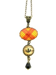 Ancient Romance Series - Scottish Tartans Collection - MacMillan Clan Tartan Necklace with Celtic Bail and Thistle Charm