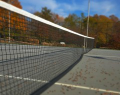 Tennis anyone? (mark owens2009) Tags: tenniscourt net tennis acorns trees sky cloudes