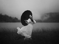 Segments Of A Dream (Maren Klemp) Tags: fineartphotography fineartphotographer darkart darkartphotography blackandwhite monochrome umbrella nature outdoors whitedress running water lake grass fog evocative ethereal dreamy dream painterly conceptual selfportrait portrait woman