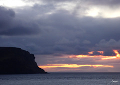 A North-Atlantic December Sunset (orquil) Tags: northatlantic atlantic ocean early december afternoon sunset seaside hoysound channel hoy island cliffs kameofhoy headland silhouette large dramatic cloudy cloudscape interesting sky varied clouds nice mixed sunlight colours winter seascape orkney islands scotland uk unitedkingdom greatbritain orcades maritime atmospheric beautiful memorable calm sea view