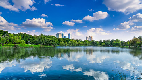 Cloud reflections at Chatuchak Park