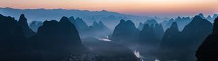 Sunrise Over Yangshuo Karst Formations
