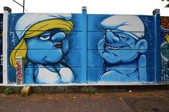 20 years after, they're back... (HBA_JIJO) Tags: streetart urban graffiti art france artist hbajijo wall mur painting aerosol peinture portrait murale spray paris92 schtroumpf charactere alliancesurbaines bagneux fat caricature bleu blue fun crazy humor humour