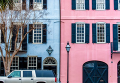 Rainbow houses (Lauren Buenger) Tags: rainbow rainbowrow south southern southcarolina scenic streetphotography photography lightroom laurenbuenger blue pink magenta adventure vacation nikondigital nikon nikkor neighboorhood architecture american lighting flickr view travel trip d3100 destination homes charleston coast color carolinas beautiful northamerica history