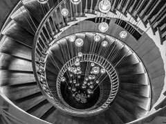 Spiraling down (MiguelHax) Tags: red spiral staircase architecture heals london bw wb blackandwhite whiteandblack