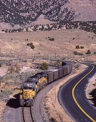 Along Echo reservior, October 5, 1985 (blair.kooistra) Tags: unionpacific gp30 parkcity webercanyon ogden echo utah utahrailroads branchlinerailroads