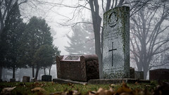 Foggy mornings are for digging... (AxelBergeron) Tags: graveyard cemetery cimetire mort fog foggy brouillard morning matin fall winter hiver automne morbid morbide lugubre dark tomb tombe tombstone pierretombale dead death sonya5000 a5000 sel1650