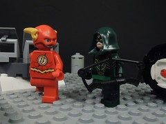 What Happened to the No Sleeves? (MrKjito) Tags: lego minifig flash green arrow crossover sleeves barry allan oliver queen cw funny conversation 4 night