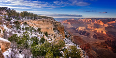 We Need Never Shout (Calpastor) Tags: grandcanyon nationalpark canyon cliffs rock tree sky clouds color arizona red blue gold green snow pines landscape beauty quote tozer amazing vast space trails