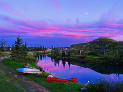 Last night the moon fell into the lake (peggyhr) Tags: pink trees sunset moon white lake canada clouds reflections boat canoe hills peggyhr naturestyle dsc08238a