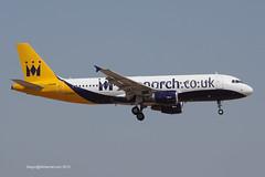 G-OZBX - 2001 build Airbus A320-214, on approach to Runway 06L at Palma (egcc) Tags: monarch airbus mon zb mallorca palma majorca a320 pmi 1637 monarchairlines lepa a320214 gooau goopu gozbx