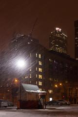 Downtown Snowstorm (NykO18) Tags: snow canada building night skyscraper darkness montréal crane montreal snowstorm québec workspace manmade northamerica housing blizzard qc offices penumbra downtownmontreal naturalelement centrevilledemontréal