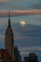 Super moon (Rafakoy) Tags: city nyc sunset sky urban moon ny newyork clouds eclipse newjersey cityscape dusk manhattan super fullmoon telephoto esb empirestatebuilding astronomy astrology hoboken nikond800 supermoon afsnikkor300mmf28gedvrii