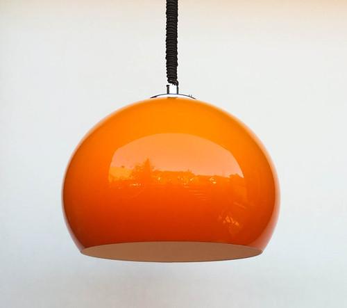 Vintage Adjustable Spheric Ceiling Light Orange Space Age
