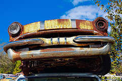 1955 Pontiac at Spencer's Auto Salvage (hz536n/George Thomas) Tags: sky copyright canon rust michigan rusty september canon5d rusting pontiac upnorth salvage hdr patina m65 2015 whittemore ef1740mmf4lusm cs5 spencersautosalvage