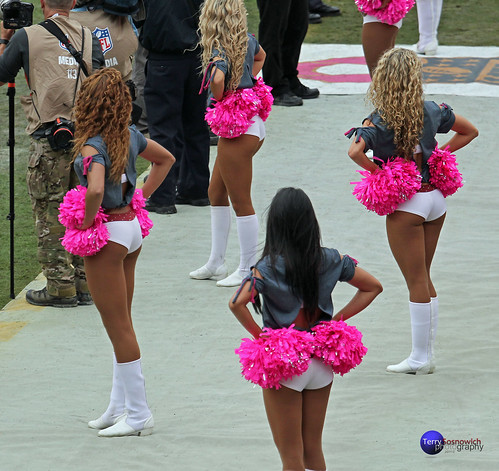 Redskinette Cheerleaders watch the Redskins on the field.