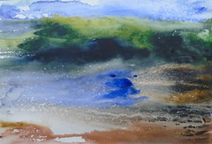 Landscape by Luiza - DSC01537 (Dona Mincia) Tags: ocean sea sky abstract tree art watercolor painting paper landscape mar sand arte areia free paisagem cu study leve rvore pintura loose aquarela solto