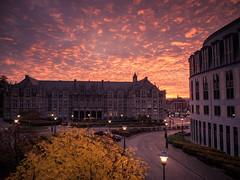 A  Surreal Sunrise (Gilderic Photography) Tags: road street city morning light sky architecture clouds sunrise lumix belgium belgique belgie surreal panasonic ciel liege ville matin gilderic lx3 dmclx3