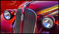 Red and Headlights (hamsiksa) Tags: auto red classic car detroit plymouth american vehicle restoration retored
