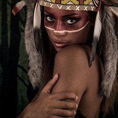 A kind of magic (Tommy Hyland) Tags: wood portrait people woman white sexy girl beautiful beauty face look female youth race dark hair fur person one costume amazing model paint pretty colours mask eagle native indian traditional decoration young feather adorable makeup charm tribal fresh desire human american camouflage enjoy attractive brave sholder colourful tradition charming cosmetics attention ethnic attentive delightful warpaint headdress traditon