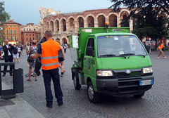 Have you got us in dear? (geoff7918) Tags: italy verona piaggio garbagetruck