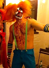 IMG_3926 (danimaniacs) Tags: shirtless man hot sexy guy halloween smile costume colorful clown hunk horror