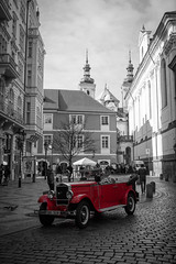 "Old car in old Prague (Herve ""Setaou"" BRY) Tags: street blackandwhite bw white black car noir prague noiretblanc pavement transport praha voiture nb transportation czechrepublic cz rue et rpublique blanc rpubliquetchque selectivecolor pavs tchque eskrepublika tchquie dcoloration slective dcolorationslective"