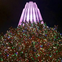 Rockefeller Center Christmas Tree (Joe Shlabotnik) Tags: cameraphone christmas nyc newyorkcity tree manhattan rockefellercenter christmastree 30rock gebuilding rcabuilding 2015 comcastbuilding instagram galaxys5 december2015