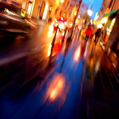 it's just rain II (Rino Alessandrini) Tags: life road street city winter motion blur color rain reflections walking strada shadows gloomy dusk walk ombre diagonal via movimento inverno colori riflessi pioggia vita città diagonale crepuscolo mosso camminare passeggiare uggioso