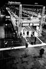At the station (mripp) Tags: street city travel urban white black art beauty station zeiss 35mm germany deutschland mono europe frankfurt kunst sony fear railway bahnhof mobil daily stadt commuting feeling traveling monochrom everyday alpha schwarzweiss commuters mobility distagon pendler 7rii