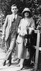 Glamourous couple 20s (vintage ladies) Tags: portrait people blackandwhite woman man male hat lady female vintage couple dress tie suit trousers lovely foxfur 20slady 20swoman 20sman