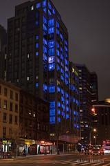 Luminaire Gramercy [5904] (Joel Raskin) Tags: street city nyc newyorkcity architecture night buildings gramercy bluelights apartmentbuildings luminaire 1stave postluminaria luminairegramercy