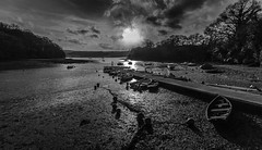 Moonfall (pootlepod) Tags: light blackandwhite moon gabriel water monochrome river boats sailing reflected stoke lunar dart moonset slipway estury dingies canon60d