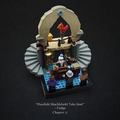 Arresting Dumbledore (Vaionaut) Tags: lego harrypotter harry potter albus percival wulfric brian dumbledore kingsley shacklebolt cornelius fudge john dawlish fawkes phoenix