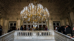 2016 - Baltic Cruise - St. Petersburg - Yusupov  Palace Grand Staircase Chandelier (Ted's photos - Returns late December) Tags: 2016 cropped tedmcgrath tedsphotos vignetting russia ussr stpetersburg yusupovpalace yusupovpalacestpetersburg chandelier staircase peo lamp lightning peopleandpaths