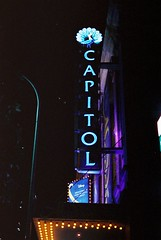 Capitol Theatre Sign (goodfella2459) Tags: nikon f4 af nikkor 50mm f14d lens cinestill 800t 35mm c41 film analog colour capitol theatre sign sydney aladdin musical night milf
