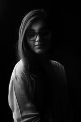 Dark Angel (|MBS-..|) Tags: blackandwhite people model light monochrome strobist studio indoor portrait exotic hot glasses spectre
